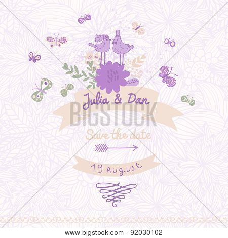 Lovely Save the Date card made of cute birds, butterflies and flowers in vector