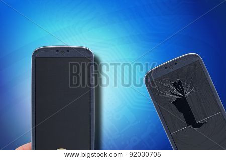Blue smartphone with broken and fixed glass and lcd on a circuit background. Idea for fixing smartphones, technical assistance, replacement, insurance and others.