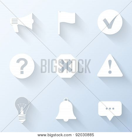 Flat Notification Icons With Long Shadows. Vector Illustration