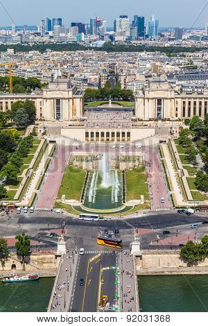 Aerial View To The Trocadero Garden From Eiffel Tower