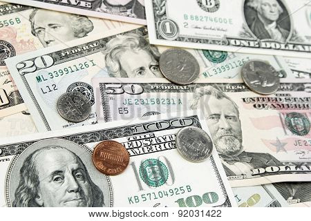 Assorted American banknotes and coins