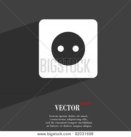 Electric Plug, Power Energy Icon Symbol Flat Modern Web Design With Long Shadow And Space For Your