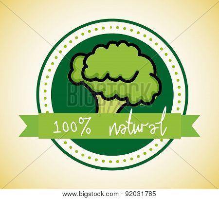 Fruit design over broccoli background vector illustration