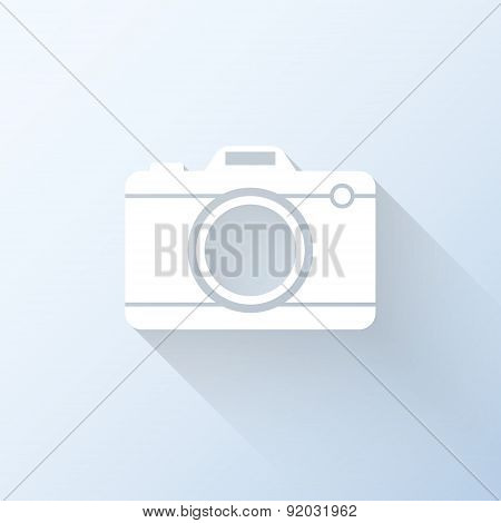 Flat Camera Icon With Long Shadow. Vector Illustration