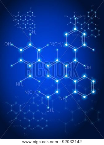 Blue technology background & chemical formulas
