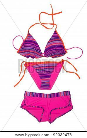 Bright Fashionable Swimsuit. Bra, Panties And Shorts.