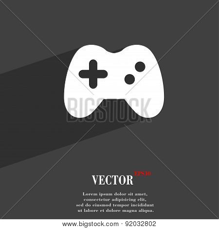 Joystick Icon Symbol Flat Modern Web Design With Long Shadow And Space For Your Text. Vector