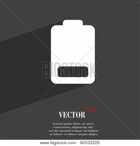 Battery Low Level, Electricity Icon Symbol Flat Modern Web Design With Long Shadow And Space For You