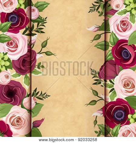Invitation card with red and pink roses, lisianthuses and anemone flowers. Vector eps-10.