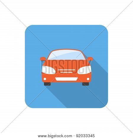 Flat Car Icon With Long Shadow. Vector Illustration