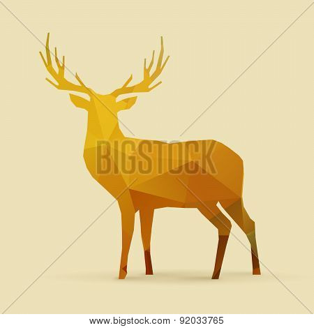 Deer Polygon Golden Silhouette