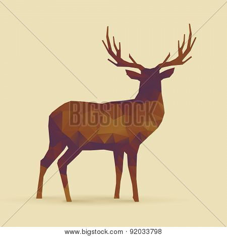 Deer Polygon Orange Purple Silhouette