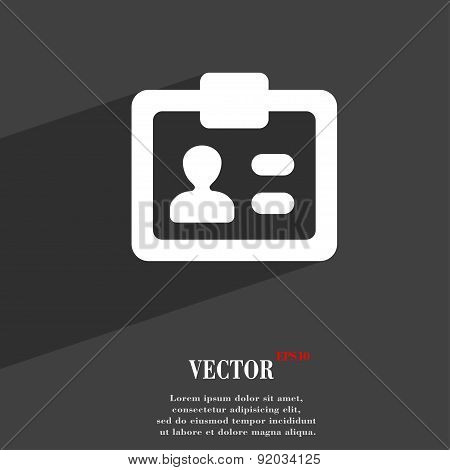Id,  Identity Card Icon Symbol Flat Modern Web Design With Long Shadow And Space For Your Text. Vect