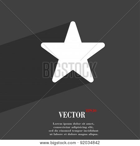 Favorite Star Icon Symbol Flat Modern Web Design With Long Shadow And Space For Your Text. Vector