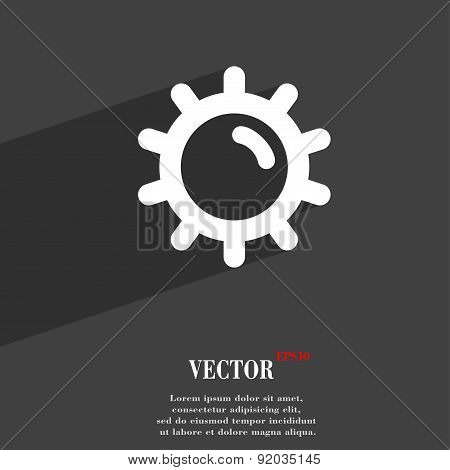 Sun Icon Symbol Flat Modern Web Design With Long Shadow And Space For Your Text. Vector