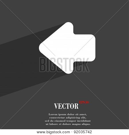 Arrow Left, Way Out Icon Symbol Flat Modern Web Design With Long Shadow And Space For Your Text. Vec