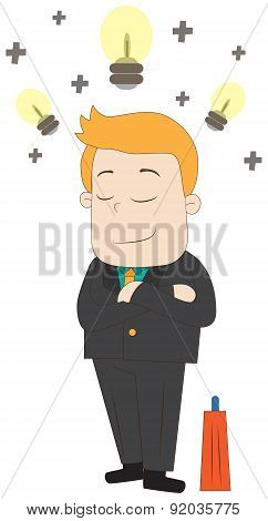 A Cartoon Businessman Is Having A Bright Positive Idea While Thinking In Isolated Background, Create