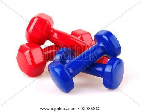 Red and blue dumbbells, Isolated on white background