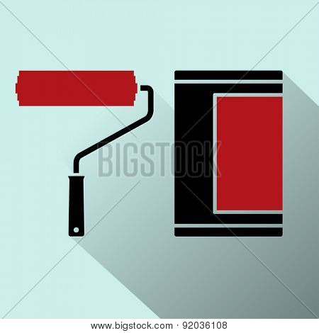Vector icon of roller brushes with strips paint. Illustration.