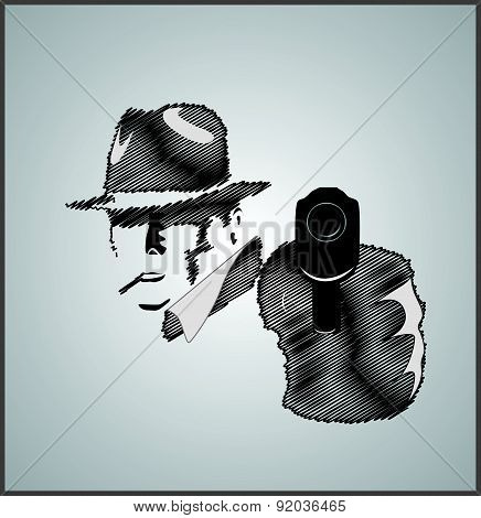 Gangster In Shadow With Gun
