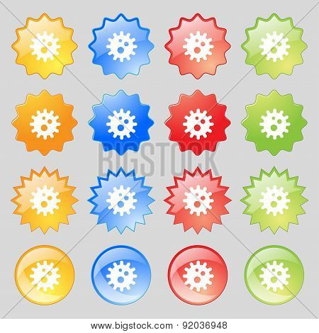 Naval Mine Icon Sign. Set From Sixteen Multi-colored Glass Buttons With Place For Text. Vector