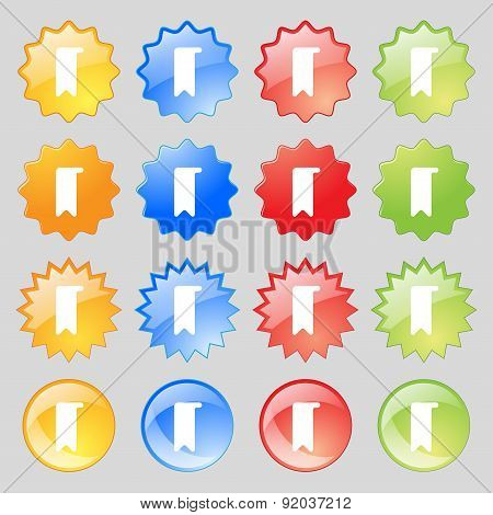 Bookmark Icon Sign. Set From Sixteen Multi-colored Glass Buttons With Place For Text. Vector