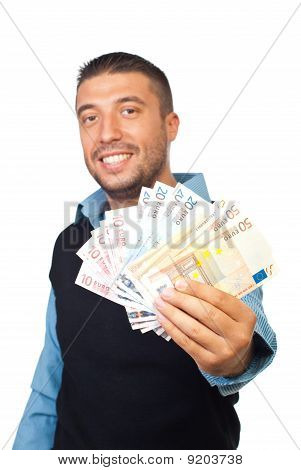 Business Man Giving Euro Banknotes