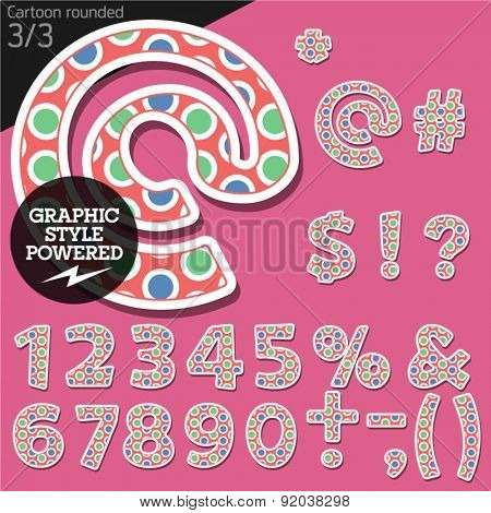 Vector children alphabet set in original candy style. File contains graphic styles available in Illustrator. Symbols and numbers