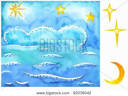 Summer Night Sky And Sea Background
