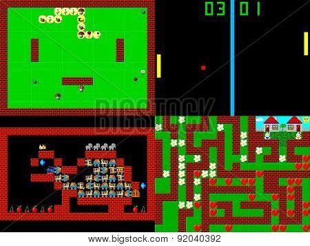 Set Of Retro Style Game Pixelated Graphics