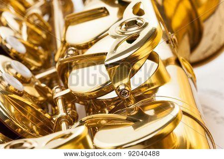 Alto saxophone fragment with detailed view of keys