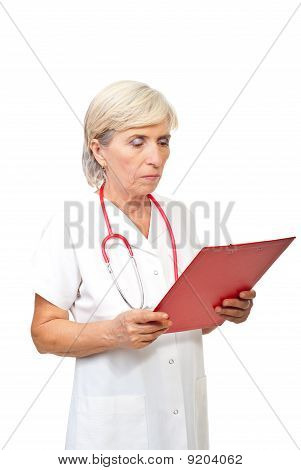 Senior Doctor Woman With Clipboard
