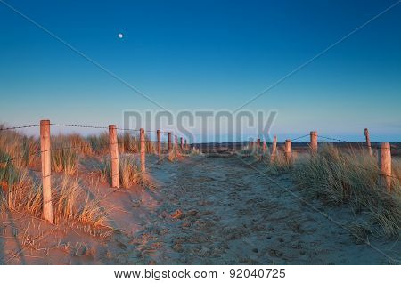 Warm Sunset Light And Moon Over Sand Path