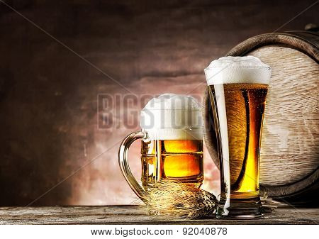 Mug and a glass of light beer
