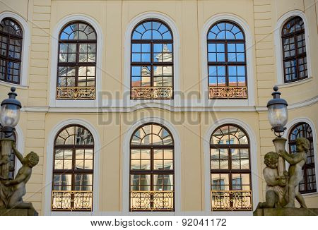 Reflections In Windows Of Palace Taschenbergpalais (hotel Kempinski), Dresden, Germany.