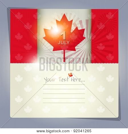Happy Canada Day Card Or Background. July 1.