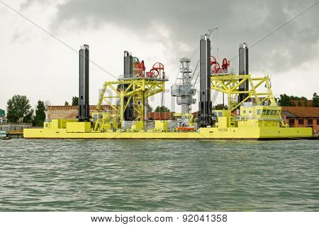 Venice Flood barrier construction