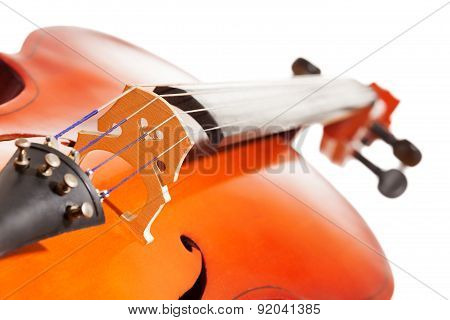 Cello body with bridge and F-holes on background