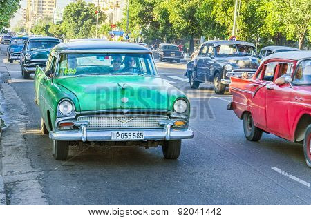 Classic American cars on street in Havana, Cuba