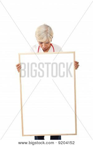 Senior Woman Holding  Blank Poster