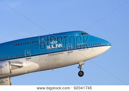 Fly in my boeing 747 on a blue sky