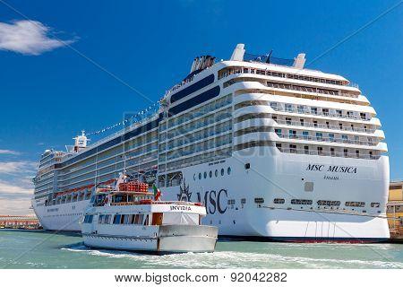 The ocean liner near the pier. Venice.
