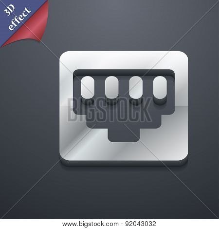 Cable Rj45, Patch Cord Icon Symbol. 3D Style. Trendy, Modern Design With Space For Your Text Vector