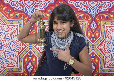 Happy Beauty Girl With Lantern Celebrating Ramadan