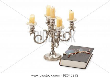 Vintage Candlestick Book And Glasses