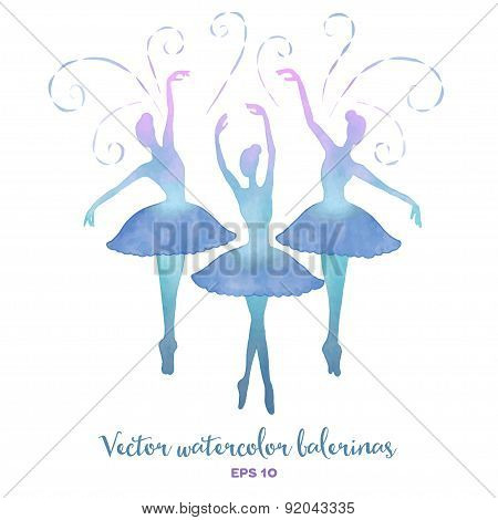 Vector Watercolor Ballerinas Set.