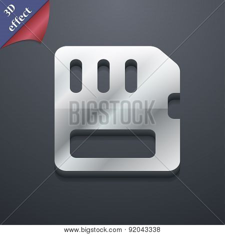 Compact Memory Card Icon Symbol. 3D Style. Trendy, Modern Design With Space For Your Text Vector