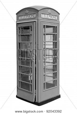 Classic British phone booth in London UK,isolated on white