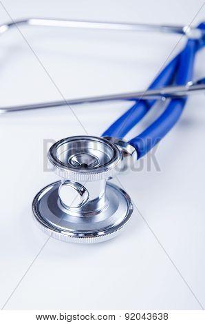 Close Up Of Medical Stethoscope Isolated On White Background