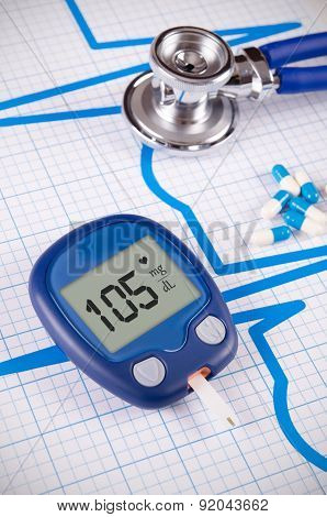 Glucometer And Stethoscope On Medical Background